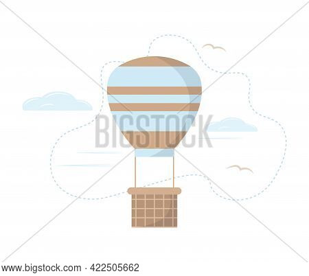 Blue Hot Air Balloon Flying In The Sky With Clouds. Air Transport. Cute Cartoon Style. For Backgroun