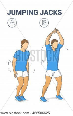 Man Doing Jumping Jacks Home Workout Exercise Diagram. Athletic Guy Star Jumps Fitness Illustration.