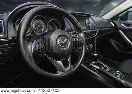 Novosibirsk, Russia - May 29, 2021: Mazda 6, Cockpit Interior Cabin Details, Speedometer And Tachome