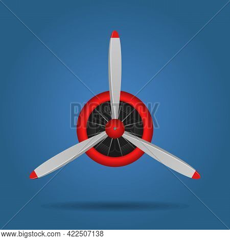 Plane Blade Propeller Isolated On Blue Background. Vintage Airplane Propeller With Radial Engine. Tu
