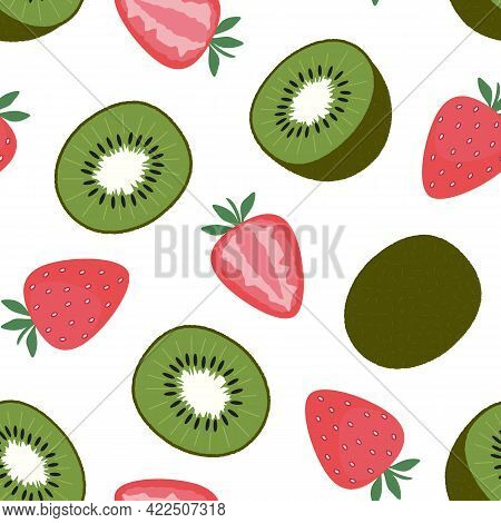 Strawberries And Kiwi. Seamless Pattern On White. Cut And Whole Fruits And Berries. Flat Vector Illu