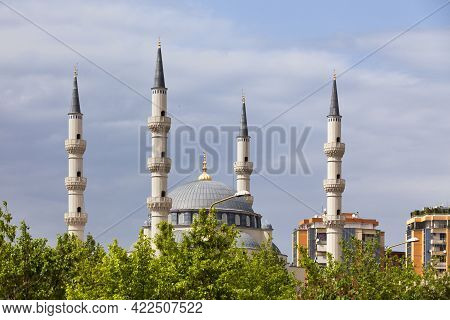 The Namazgjah Mosque Dwarfing The Surrounding Buildings In Tirana, Albania.