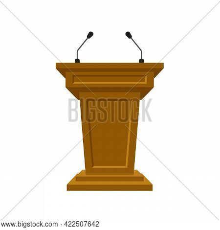 Wooden Tribune Stand Rostrum With Microphones On White Background. Podium Or Pedestal Stand For Spee