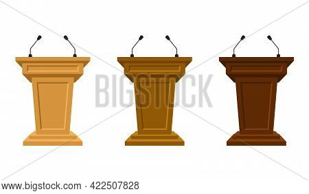 Wooden Set Of Three Colored Tribunes Stand Rostrum With Microphones. Podium Or Pedestal Stand For Sp