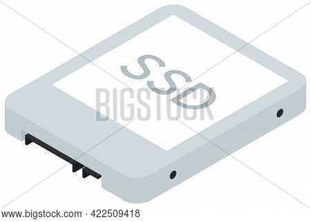 Ssd Isometric Icon, Solid State Drive Storage Device. Information And Data Save Equipment. Vector Il