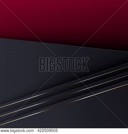 Abstract Composition With A Gradient Of Red And Gray Shades, Oblique Curtains With A Border.