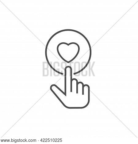 Finger Pressing Donate Button Line Icon Voluntary And Donation Concept