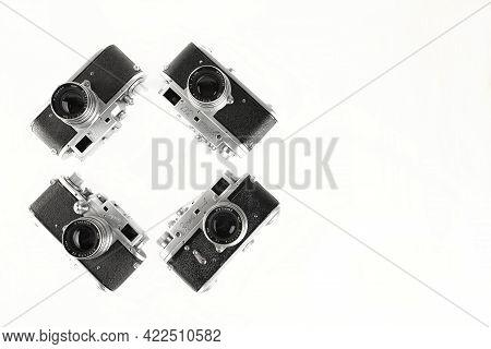 Moscow, Russia, May 31, 2021. Evolution Rare Old Soviet Rangefinder Camera Zorki, Zorki 3, Zorki 3M,