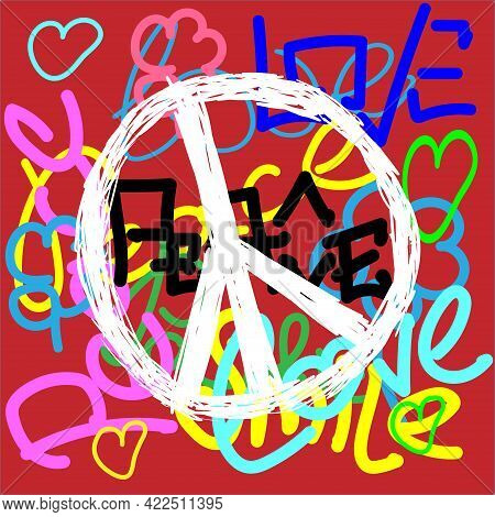 Peace Sign On A Colorful Background Drawn By Hand. Symbol Of The Pacifists. Flat Vector Illustration