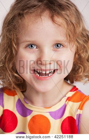 Happy Charming Curly Little Girl