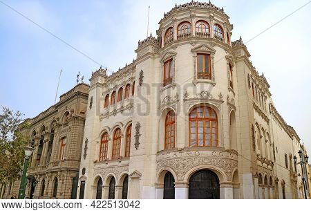 The Colon Theater Or Teatro Colon, A Gorgeous National Monument On Plaza San Martin In Lima, Peru, 1