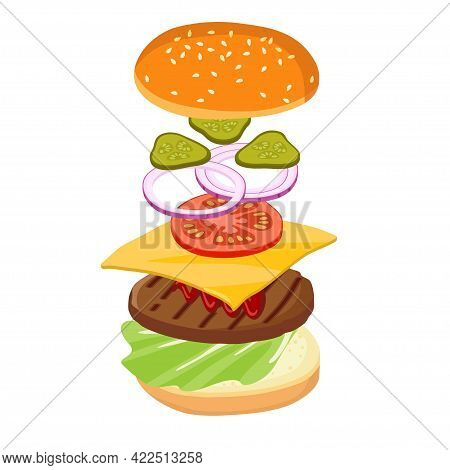 Jumping Burger Isolated On White. Hamburger Creation Product Kit. Chopped Vegetables, Bun, Cutlet, S