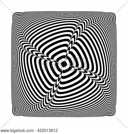 Abstract Op Art Design Element. Lines Pattern. Vector Illustration.