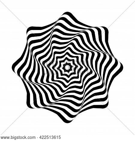 Op Art Design Element. Illusion Of Twisting Rotation Movement. Abstract Wavy Lines Circle Pattern. V