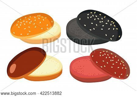 American Burger Bun Set Isolated On White Background. Empty Hamburger. Bakery Product. Different Typ