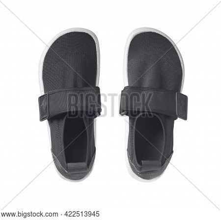 Top View Of Black Slip-on Sneakers Pair. Mesh Hydro Shoes For Water Sport Isolated On White