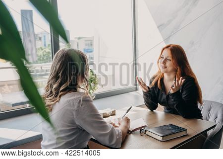 Empathy, Friendly Support, Each Others Support And Sisterhood. Young Woman Comforting Her Friend Sit