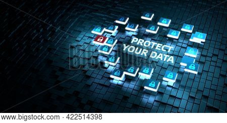 Cyber Security Data Protection Business Technology Privacy Concept. Protect Your Data 3d Illustratio