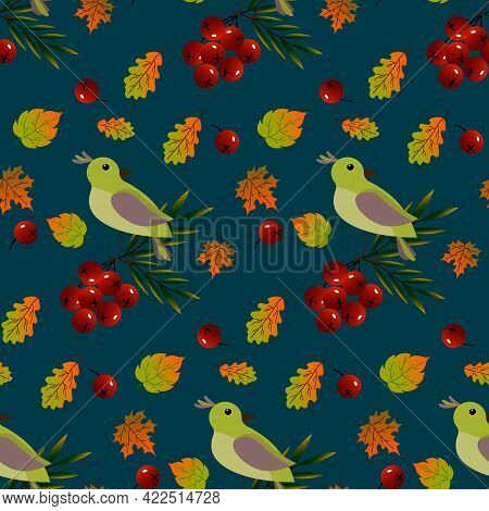 Seamless Pattern With Birds, Red Berries And Autumn Leaves. Vector Illustration On A Dark Background
