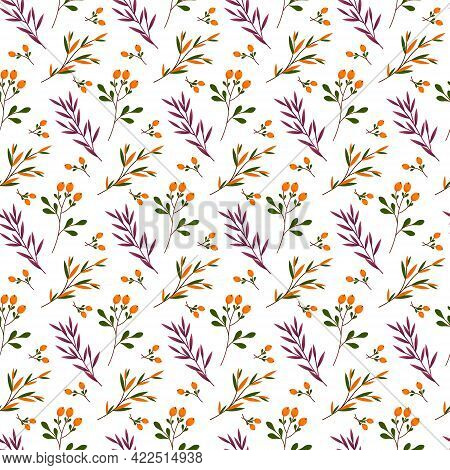 Seamless Herbal Pattern. Purple Grass And Branches With Orange Berries. Vector Illustration. For Use