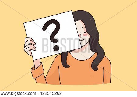 Question, Doubt, Asking Concept. Frustrated Positive Woman Cartoon Character Standing With Question