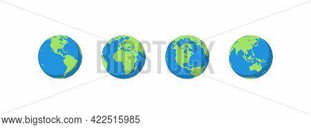 Planet Earth Set Flat Illustration. World Globe Map. Vector Isolated Icon