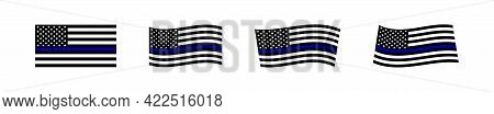 Black Usa Flag With Blue Stripe. American Police Set Flags Isolated Icon. Vector
