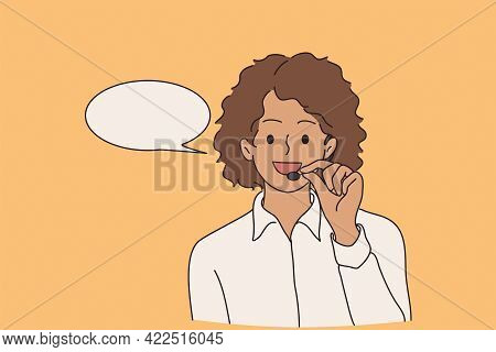Customer Service Worker Concept. Young Smiling Positive African American Telemarketer Woman Cartoon
