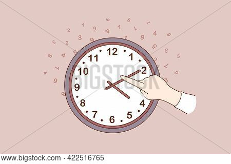 Changing Time Concept. Human Hand Changing Time On Large Wall Clock Over Dark Brown Background Vecto