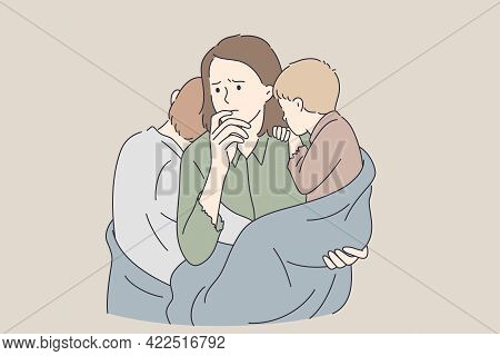 Poverty, Single Mother, Troubles Concept. Young Sad Unhappy Mother Woman Cartoon Character With Two