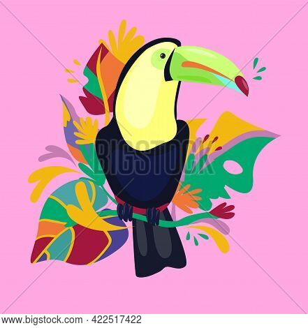 Coloring Set Cute Toucan With Tropical Leaves Print Design Tropics Vector Illustration, Silhouette C