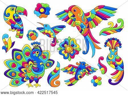 Set Of Decorative Tropical Birds. Mexican Ceramic Cute Naive Art.