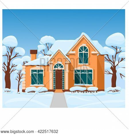 Large Orange House With Large Windows Outside In Winter. Bushes Near The House In The Snow. Country