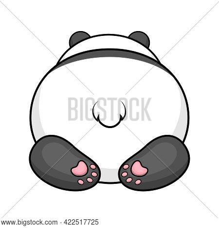 Cute Cartoon Panda's Butt With Tail And Paws. Vector Illustration Of An Animal Isolated On White.