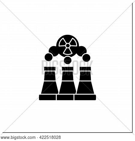 Fusion Reactor Glyph Icon. Electrical Power From Nuclear Fusion Power. Electricity Station Concept.