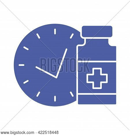 Medical Vial With Timer. Vaccination Schedule Line Icon. Time To Vaccinate. Immunization Concept. He