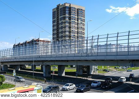 New High-rise Buildings. The Lower Side Of The Elevated Road. Viaduct On The Motorway. Summer Backgr