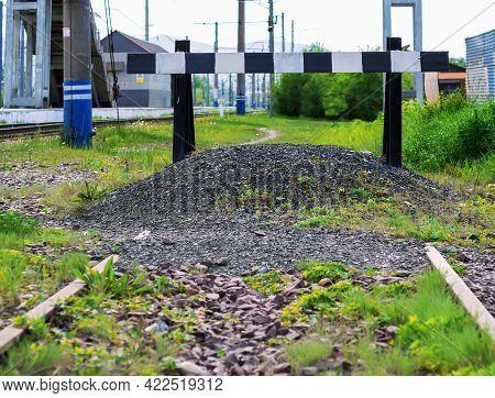 Abandoned Railway Deadlock. Railway Impasse. Signs Of Railway Deadlock.