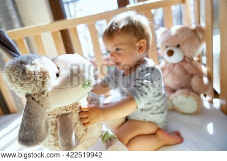 Smiling Little Child Sitting On A Wooden Bed And Holding A Large Plush Sheep