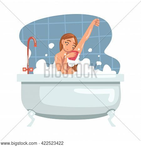 Young Female Bathing In The Bathtub Washing Her Body With Soap And Shower Puff Vector Illustration