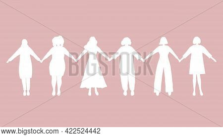 Women Holding Hands. White Silhouettes Of Women On A Pink Background. Women's Community. Female Soli