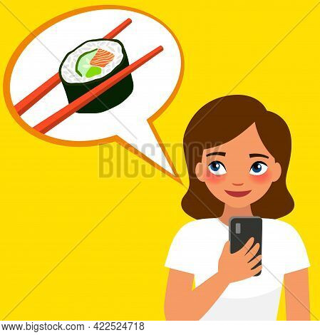 Young Girl Orders Japanese Rolls By Phone. Vector Illustration On Yellow Background