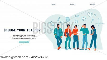 College, University Graduation Or Online Education Web Banner Concept With Young Scholars Or Teacher