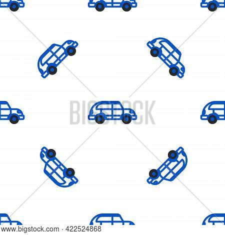 Line Hatchback Car Icon Isolated Seamless Pattern On White Background. Colorful Outline Concept. Vec
