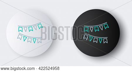 Line Carnival Garland With Flags Icon Isolated On Grey Background. Party Pennants For Birthday Celeb
