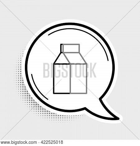 Line Paper Package For Milk Icon Isolated On Grey Background. Milk Packet Sign. Colorful Outline Con