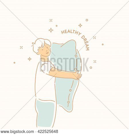 The Poster Is Dedicated To Proper Sleep, Which Promotes Rest And Health Of The Body. A Young Man Wit
