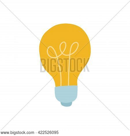 A Yellow Light Bulb With A Blue Base. Idea Sign. Vector Isolated Fully Editable Illustration On Whit