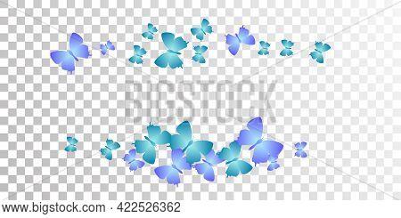Fairy Blue Butterflies Flying Vector Wallpaper. Summer Ornate Moths. Wild Butterflies Flying Girly B