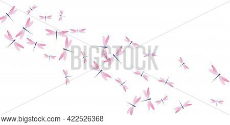 Magic Rosy Pink Dragonfly Isolated Vector Illustration. Summer Colorful Insects. Simple Dragonfly Is